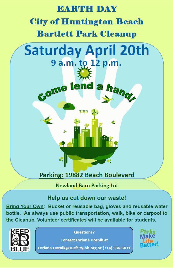 City of Huntington Beach, CA - News - Earth Day April 20 - Bartlett